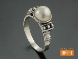 DELFY PEARL srebrny pierścionek perłą roz.14