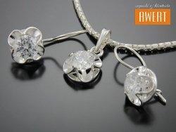 KORYNA srebrny komplet z cyrkoniami