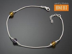 SURBO CRYSTAL srebrna bransoletka na nogę 26 cm