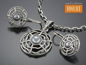 MARY srebrny komplet z hematytem