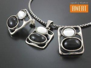 FIANO srebrny komplet z kamieniami