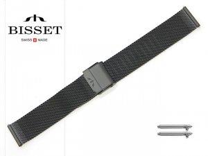 BISSET 20 mm bransoleta stalowa mesh BM101 czarna