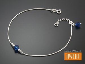CORTONA CRYSTAL srebrna bransoletka na nogę 25,5 cm