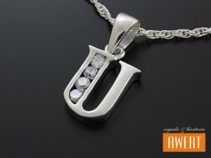 Literka U wisiorek srebrny z cyrkoniami