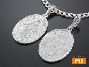Cudowny medalik srebrny dwustronny Matka Boska Cudowna b.duży