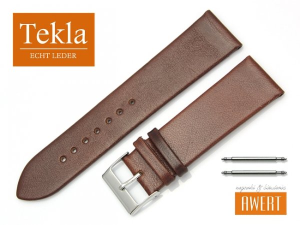Pasek do zegarka TEKLA PT26 skórzany 24 mm brązowy