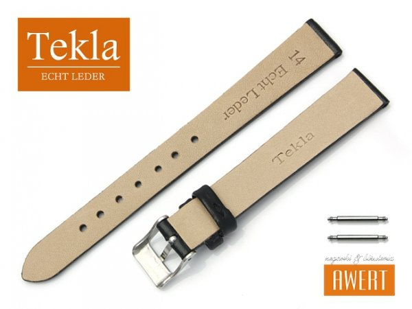 Pasek do zegarka TEKLA PT26 skórzany 14 mm czarny