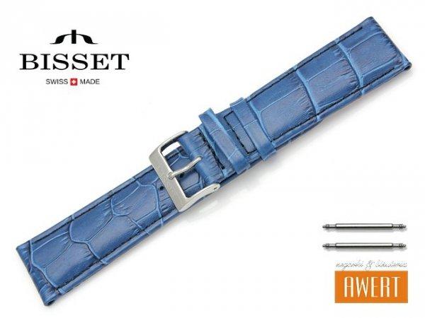 Pasek skórzany do zegarka 22 mm BISSET BS121 niebieski
