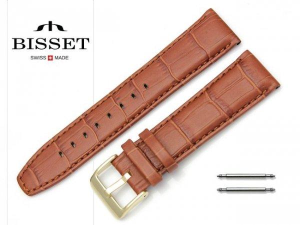 Pasek skórzany do zegarka 22 mm BISSET BS161 brązowy