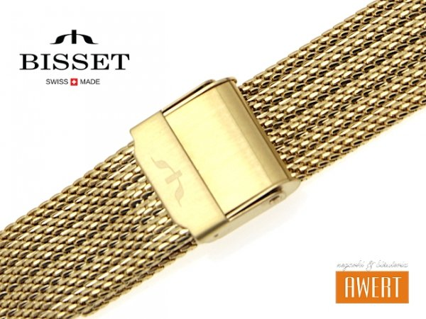 BISSET 16 mm bransoleta stalowa mesh BM104 złota
