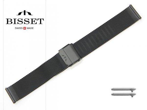 BISSET 20 mm bransoleta stalowa mesh BM101 czarna BM101-1-20