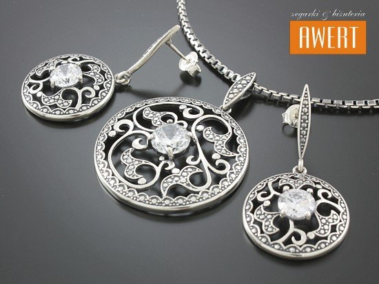 LAURA srebrny komplet z cyrkonią