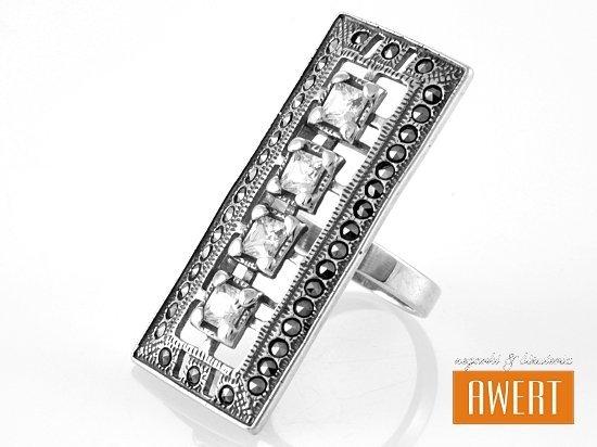 GEDIA MARCASITE srebrny pierścień z cyrkonią i markazytami