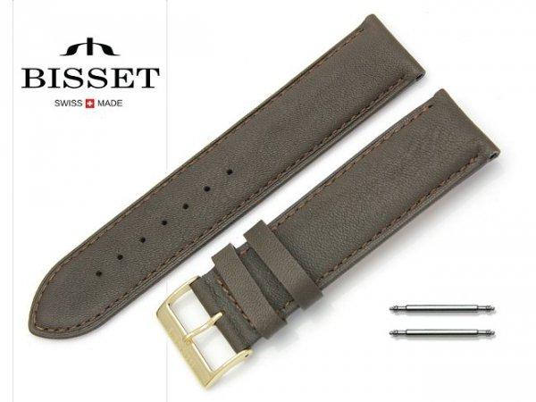 Pasek skórzany do zegarka 22 mm BISSET BS108 brązowy