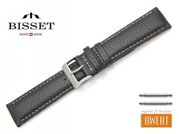 Pasek skórzany do zegarka 20 mm BISSET BS103 czarny