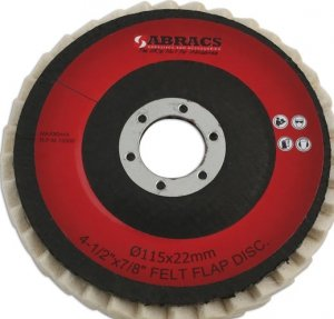 Abracs Felt Polishing Disc 115mm x 22mm Bore Pk 5