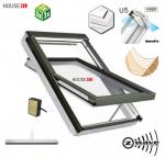 Dachfenster Fakro FTU-V U5 Z-Wave Elektrofenster Schwingfenster aus weiß lackiertem Holz Uw: 0,97 mit superenergiesparende Isolierverglasung PU-Kunststoff-Lack Dauerlüftung V40P topSafe-System Polyurethan-Kunststofflack erhöhter Feuchteresistenz