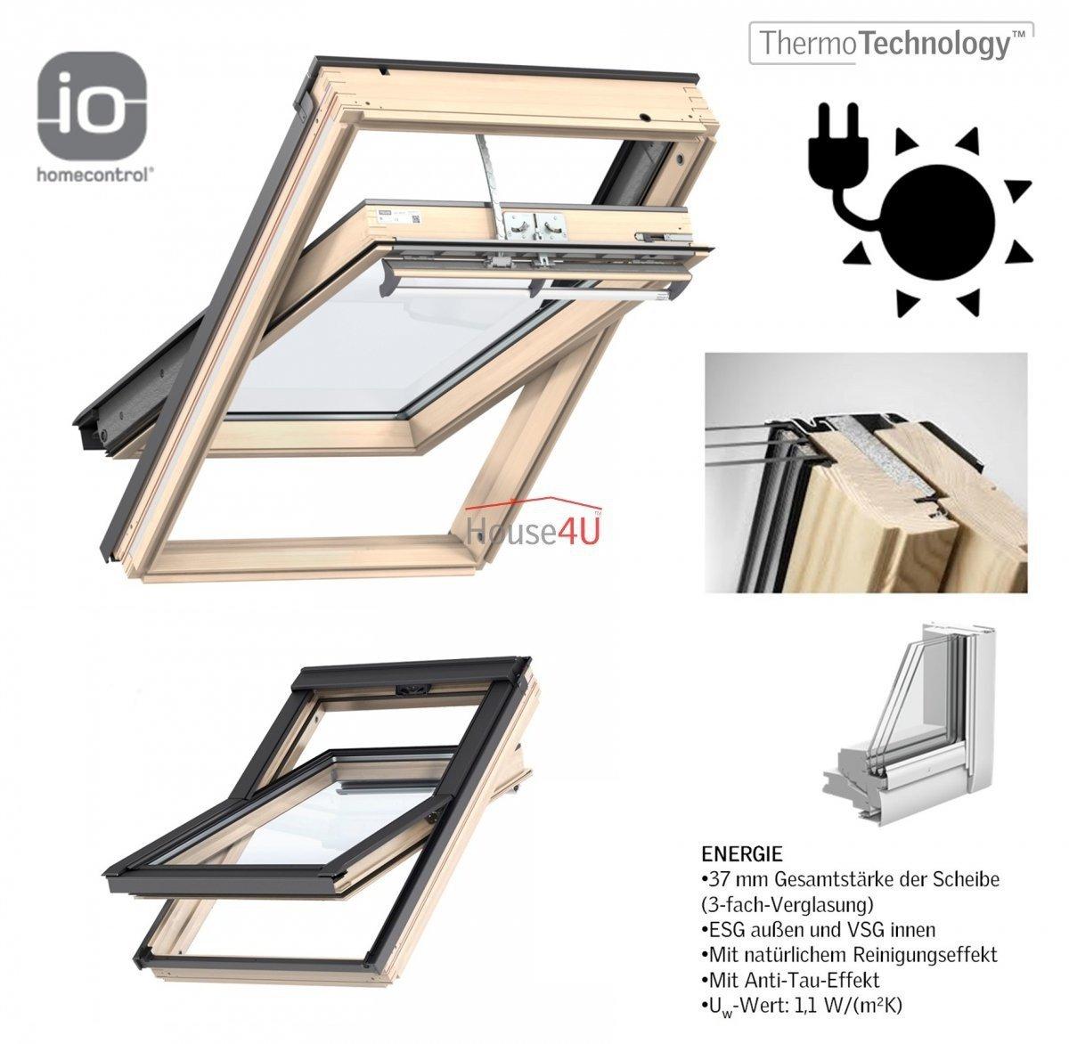 Velux Integra Dachfenster Ggl 306830 Solarfenster Holz Schwingfenster 3 Fach Verglasung Uw 1 1 Energie Aluminium Io Homecontrol Solar Holz Klar Lackiert Holzfenster Automatische Fenstern Dachfenster