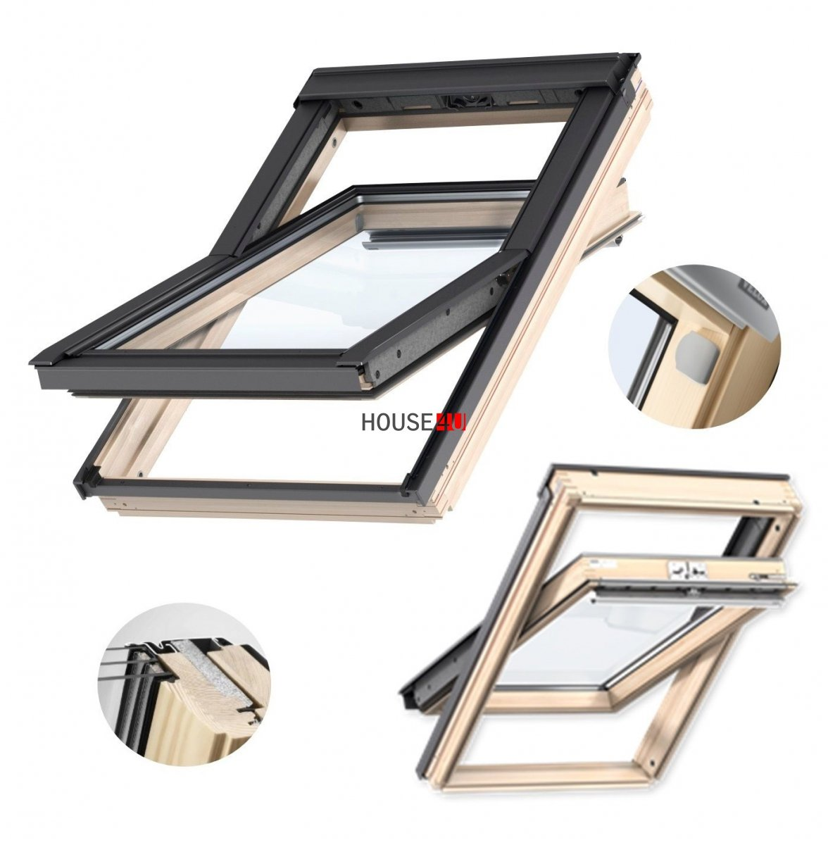 velux dachfenster gll 1061 3 fach verglasung uw 1 1 schwingfenster aus holz mit dauerl ftung. Black Bedroom Furniture Sets. Home Design Ideas