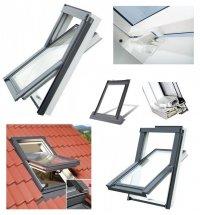 Dachfenster OPTILIGHT TLP Kunststofffenster Schwingfenster Uw=1,3 W/m²K. PVC Profile in Weiß