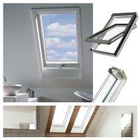 Dachfenster Fakro FTU-V U4 3-fach Verglasung Schwingfenster aus weiß lackiertem Holz PU-Kunststoff-Lack, Dauerlüftung V40P, topSafe-System Uw: 1,1 Polyurethan-Kunststo<br />fflack erhöhter Feuchteresistenz