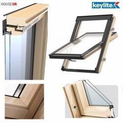 Dachfenster Schwingfenster Keylite BW Pine 2-fach-Verglasung Thermal Uw=1,3 Dachfenster aus Holz: klar lackiert / Boden-Griff - alle Größen