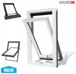 BALIO Dachfenster APB 78x134 cm Schwingfenster Kunststoff-fenster PVC Profile in Weiß, Wohndachfenster THERMO Uw= 1,4 mit 2-fach Verglasung mit Untenbedienung (Boden-Griff) RAL 7043, incl. Universal - Eindeckrahmen 0-50mm