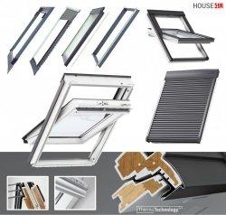 Dachfenster-Set Velux GLU 0061 3-fach-Verglasung Uw= 1,1 Schwingfenster Kunststoffdachfenster Außenrollladen SML 0000, EDZ 2000 Eindeckrahmen mit BDX 2000 Thermische Isolationsset ThermoTechnology