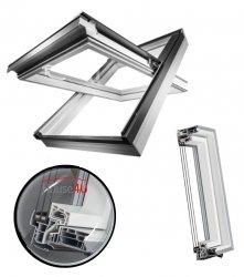 OPTILIGHT PVC Dachfenster TLP-V U4 3-fach-Verglasung Uw= 1,1 Schwingfenster aus Kunststoff PVC Profile in Weiß mit Dauerlüftung  / Boden Griff / ENERGIE with triple glazing
