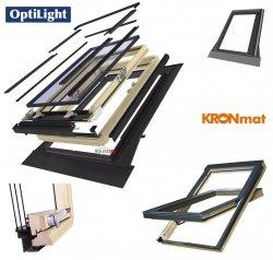 Dachfenster Optilight D Pro U4 Holz Schwingfenster (Kronmat - FAKRO Konzern) 3-fach Verglasung Uw=1,2 Energiesparende Dachfenster aus Holz: klar lackiert / Boden-Griff