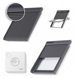 VELUX Dachfenster Außenrolladen SSL 0000S Aluminium INTEGRA® Solar- Rollladen Dunkelgrau inkl. Fernbedienung / Funk-Wandschalter