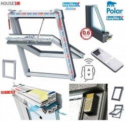 Elektro-Dachfenster Keylite PVC PCP KTG PEK Premium Elektrofenster mit Handheld-Fernbedienung mit 15 Kanälen 3-fach-Verglasung Uw= 1,0 Schwingfenster aus Kunststoff Weiß PVC mit Wärmedämmblock