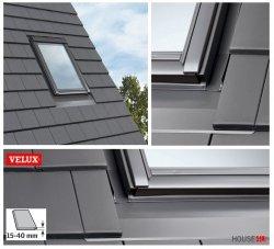 VELUX Eindeckrahmen EDT 0000 für Dachziegel, für flache Ziegel  15- 40mm, Schiefer Schichtstück, flache Eindeckmaterialien, 20°-90° Alu