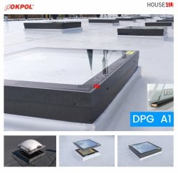 Flachglassegment für Flachdächer, Glas-Modul DGP A1 P2A Weiß PVC-Rahmen für Modernisierung alter Beleuchtung, Modulprofil aus PVC, 2-fach-Verglasung, Verbundsicherheitsglas, ESG außen, VSG innen, Inneschiben laminiert