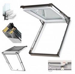 Dachfenster Kipp-Schiebefenster Okpol IGKV N22 Uw=0,86 3-Fach Verglsung / IGK I3 PVC Profile in Weiß - Öffnungswinkel bis 62° - Uw= 1,2 W/m²K /Ausstiegsfenster