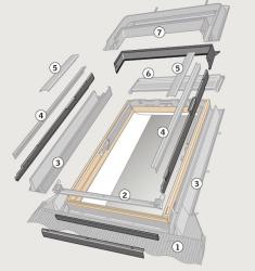 Eindeckrahmen Adapterrahmen VELUX ELX 0000 für Austausch älterer Fenster Aluminium
