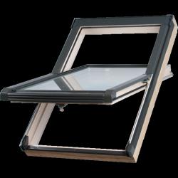 Dachfenster Okpol NKA+ S2 66x118 Schwingfenster Holz Uw= 1,3 W/m²K  Thermo 2-Fach-Veglasung klar lackiert