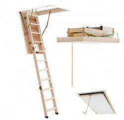 OUTLET: Bodentreppe DOLLE Euroiso 70x120 aus Holz U=1,6 weiße Öffnungsklappe Holzbodentreppe Dachbodentreppe