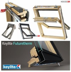 Dachfenster Schwingfenster Keylite TCP Termal 2-fach-Verglasung Uw=1,3 aus Holz: Kiefernholz Klar lackiert, Oberer oder unterer Griff