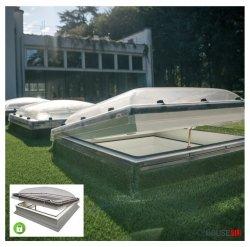 Flachdach-Fenster Fakro DMC-C P4 Secure manuelle Steuerung U=1,2 W/m²K * Secure-Flachdach-Fenster, Fenster mit einem erhöhten konstruktiven Sicherheitsstand, mit Kuppel, 0 – 15 Grad