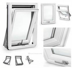 Dachfenster Schwingfenster Weiß lackiert KEYLITE BW Weiß 2-fach-Verglasung Thermal Uw=1,3 Dachfenster aus Holz: Weiss lackiert, Acryllack weiß farbe /  Boden-Griff - alle Größen