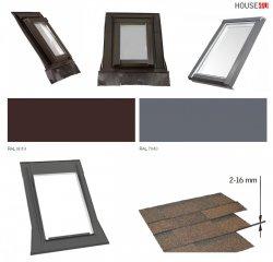 SKYLIGHT Eindeckrahmen P Schiefer Stehfalz Für flache Eindeckmaterialien Für Schieferplatten und Flachdächer 0-16 mm, dünne Eindeckmaterialien