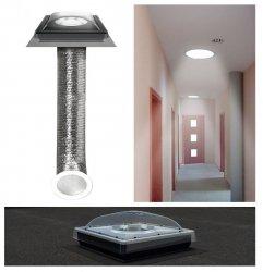 Tageslicht-Spot Fakro SFF für Flachdächer Ø 350 /  Ø 550, Tageslichtlampe für flache Dächer mit flexiblem Rohr