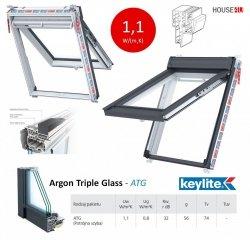 Dachfenster Keylite Polar PVC Klapp-Schwingfenster PTH PFE  Uw=1,1 Argon,  ATG 3-Fach Verglasung, weiß Kunststoff, Fluchtwegsfenster 0 – 45 ̊ offen, Kunststoff mit Wärmedämmblock, Bad-Dachfenster
