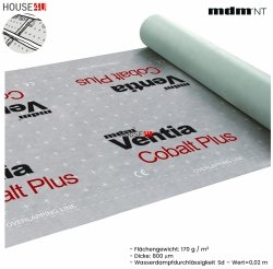 Dampfsperbahn MDM® Ventia  Cobalt Plus Dreischichtig mit einem Gewicht von ca. 170 g / m² und einer Dicke von 800 µm.