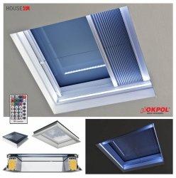 Flachdach-Fenster OKPOL PGX A1 LED-Fenster PVC Uw=1,1 W/m²K Festverglastes + SOMFY Fernbedienung