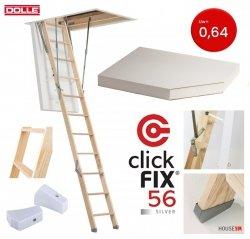 OUTLET: Bodentreppe DOLLE 56 60x120 SILBER clickFIX® U=0,64 aus Holz Energiesparende  Versand 48h
