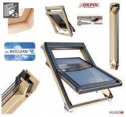 Dachfenster Okpol ISOV I7 Schwingfenster Energiesparende ENERGIE 3-fach Verglasung Uw=1,06  Holz klar lackiert, mit P2A-Laminat,