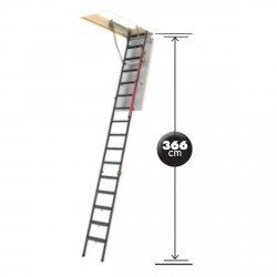 Bodentreppen Fakro LMP U=1,1 Mehrteilige Bodentreppe für hohe Räume: 300 bis 366 cm weiße Öffnungsklappe + Bodenschutzkappen mit Handlauf