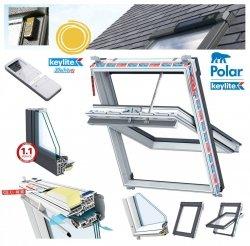 Elektro-Dachfenster Keylite PVC PCP T SPEK Solar Elektrofenster mit Handheld-Fernbedienung mit 15 Kanälen 2-fach-Verglasung Uw= 1,3  Schwingfenster aus Kunststoff Weiß PVC mit Wärmedämmblock